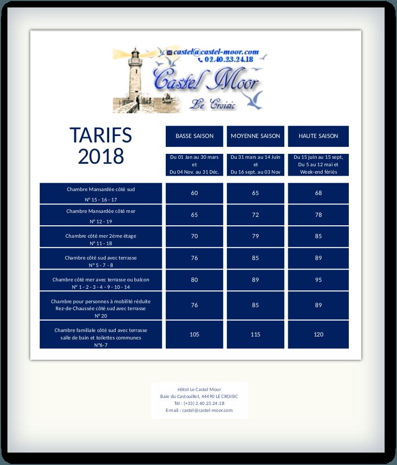 Tarifs des chambres 2018